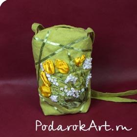 маленькая сумочка изо льна с длинной ручкой ручной работы