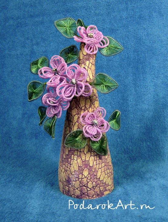 цветочное дерево с ганутелью и французскими цветами из бисера на керамике.