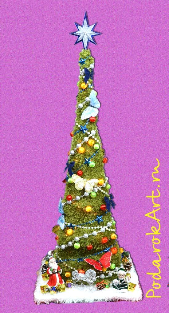 Оригинальная вязанная искусственная новогодняя елка ручной работы