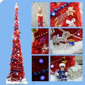 красная новогодняя елка исскуственная