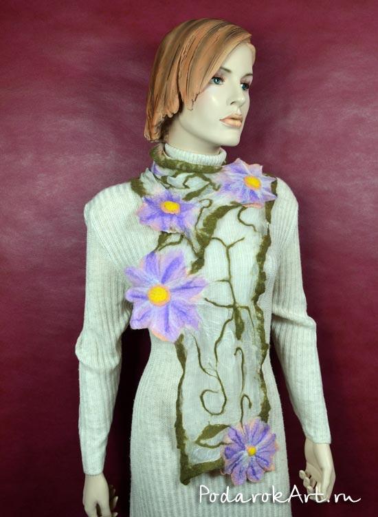 Валяный шарф с цветами на 100% натуральном шелке