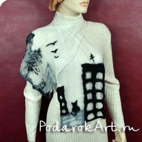 Валяный шарф ручной работы в стиле нановойлок на 100% натуральном шелке шерстью